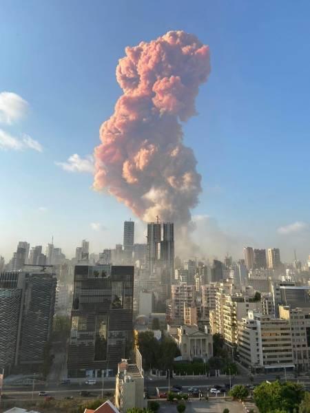 Huge Explosion In Port Of Beirut, Lebanon