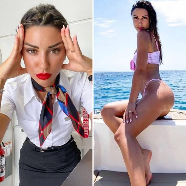 Sexy Stewardesses With And Without Their Uniform