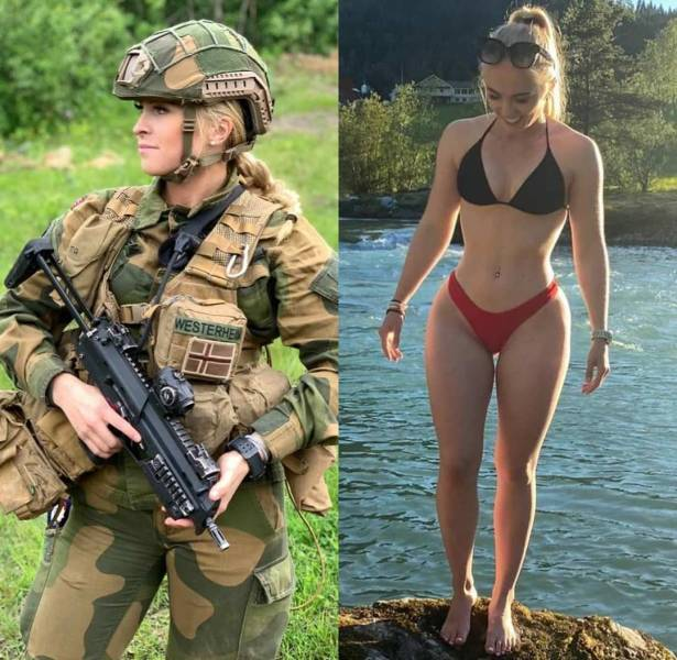Beauties With And Without Their Uniform
