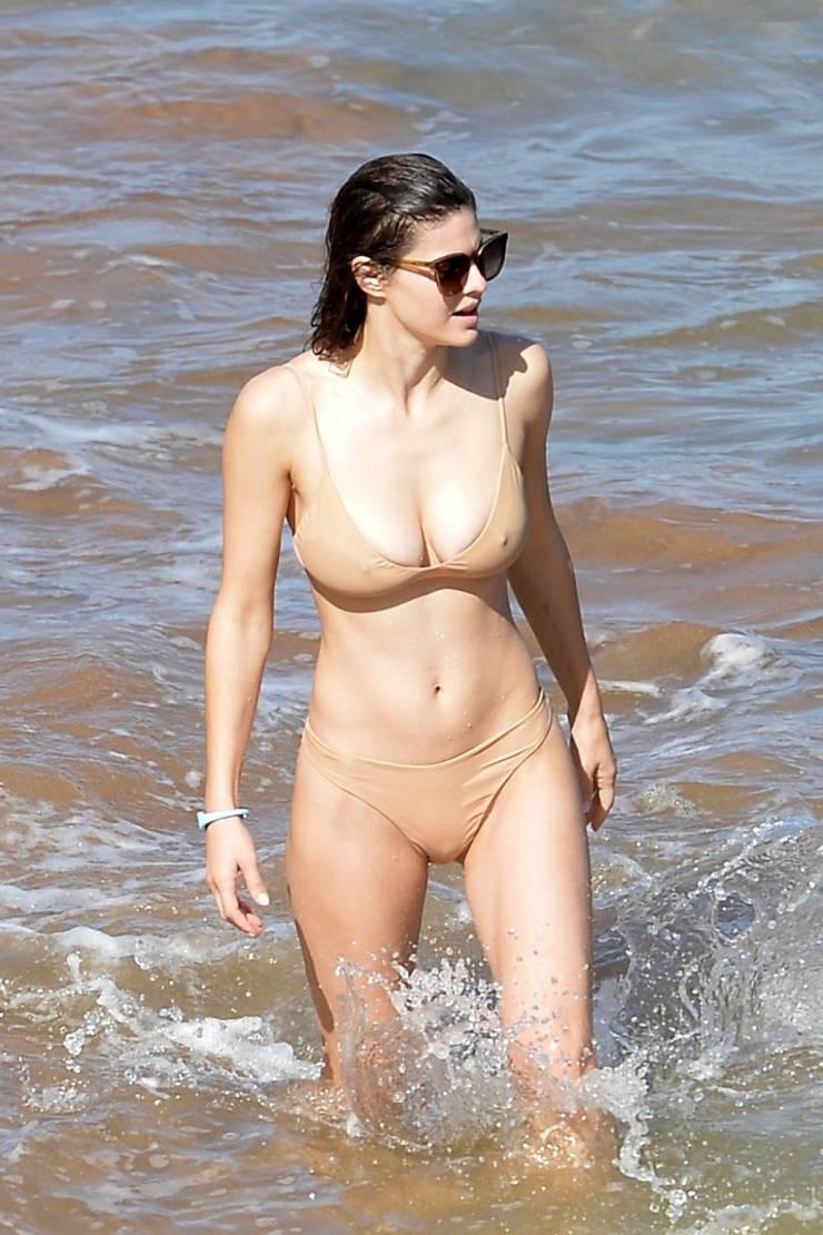 Alexandra Daddario Chilling On A Beach In Her Bikini