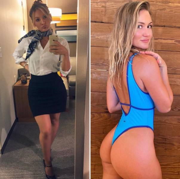 Sexy Flight Attendants With And Without Their Uniforms