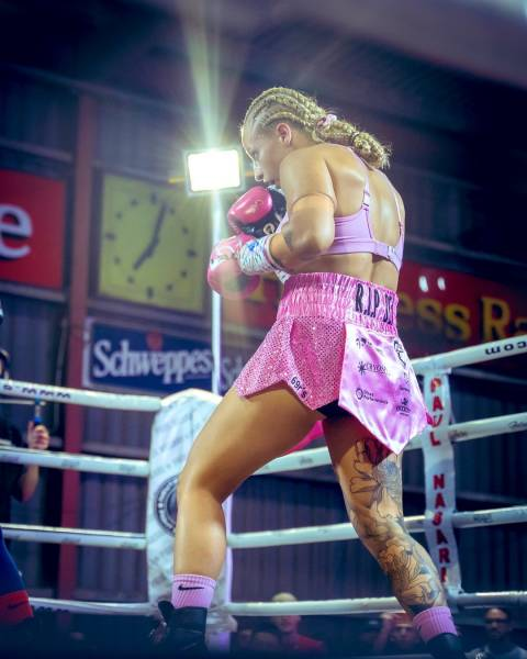 """Blonde Bomber"": Boxer Girl With Big Boobs"