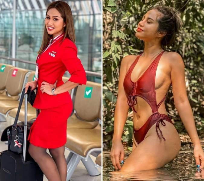 Hot Flight Attendants With And Without Their Uniforms