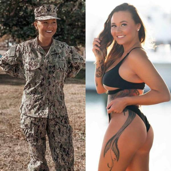Fit Girls With And Without Their Uniforms