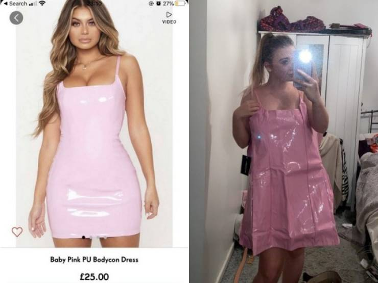 Girl Orders A Pink Latex Dress, Gets A Wrinkled Bin Bag