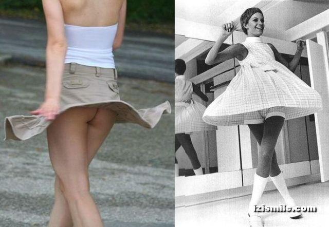 Mini-skirts from the 70's vs modern era (22 pics)