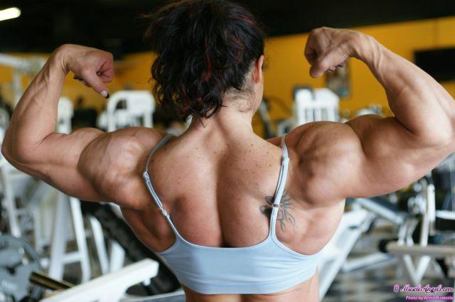 Eye-Bulging Ripped Female Bodybuilder