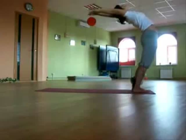 Cute Girl and Cat Doing Yoga