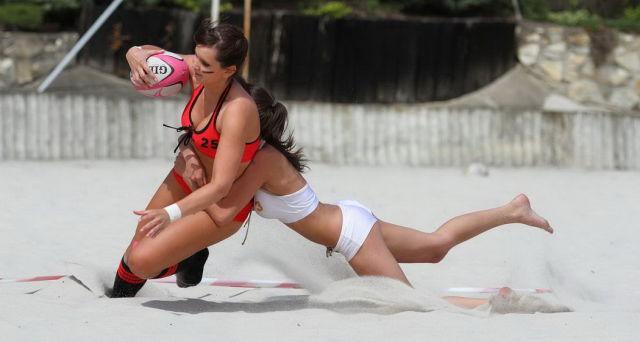 Sexy American Beach Football Championship Action Shots