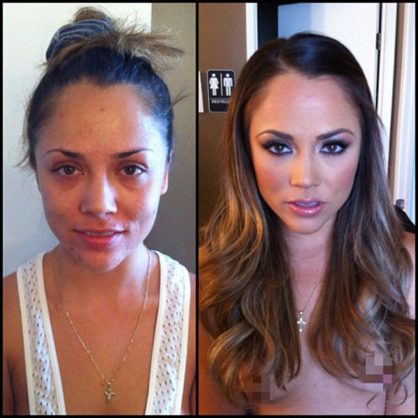 Porn Stars Before and After Their Makeup Makeover