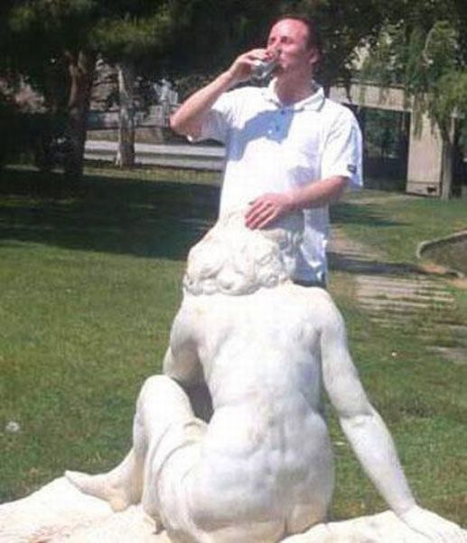 Some People Can Turn Statues and Sculptures into Something Vulgar