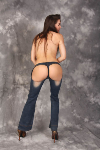Baywatch Babe Models Sexy Bottomless Jeans