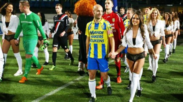 Lingerie Models Replaced Mascots During A Football Match